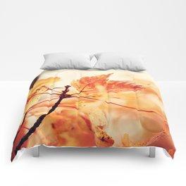 Orange Leaves Comforters