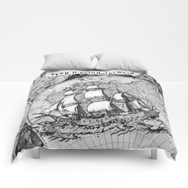 Ship and Map .  Home Decor for Him and Her Comforters