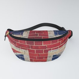 UK flag on a brick wall Fanny Pack