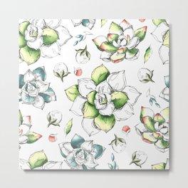Succulents & Roses Metal Print