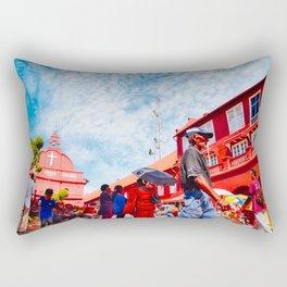 Man walks by Christ Church Melaka Rectangular Pillow