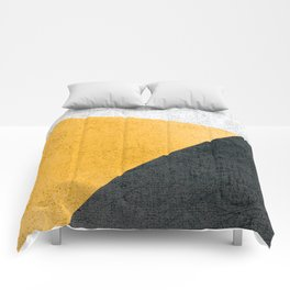 Modern Yellow & Black Geometric Comforters