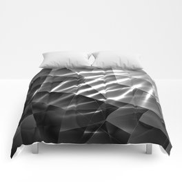 Exclusive glowing mosaic pattern of chaotic black and white fragments of glass, metal and ice floes. Comforters