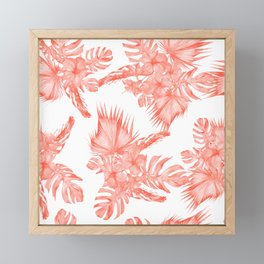 Tropical Palm Leaves Hibiscus Flowers Deep Coral Framed Mini Art Print