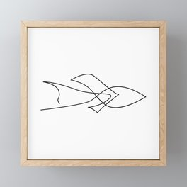Sea arrow - one line fish Framed Mini Art Print