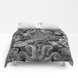 The Kraken (Black & White, Square) Comforters