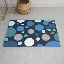 Navy Teal Blue Polka-Dots Rug