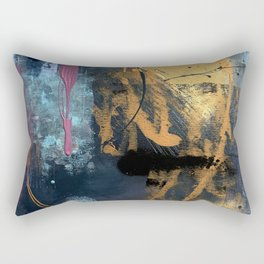 Melody: a vibrant, colorful abstract piece in blue, purple, gold, and black Rectangular Pillow