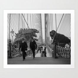 Old Time Godzilla vs. King Kong Art Print
