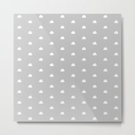 Light grey background with small white clouds pattern Metal Print