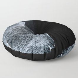 Waves on a black sand beach in iceland - minimalist Landscape Photography Floor Pillow
