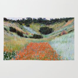 Poppy Field in a Hollow near Giverny by Claude Monet Rug