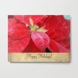 Mottled Red Poinsettia 2 Happy Holidays S2F1 Metal Print