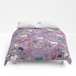 Purple Unicorns & Sweet Daydreams, Little Girls Decor, Bright, Sweets Comforters