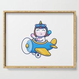 Cute Unicorn Riding Air Plane Cartoon Icon Illustration Animal Transportation Icon Concept Isolated Serving Tray