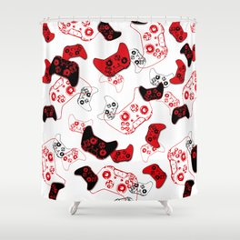 Video Game White and Red Shower Curtain