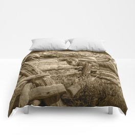 Texas Longhorn Steer by an Old Wooden Fence in Sepia Tone Comforters