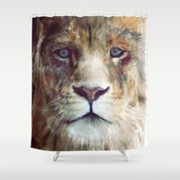 amy pond Shower Curtains featuring Lion // Majesty by Amy Hamilton