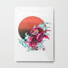 Sunset Arowana Metal Print