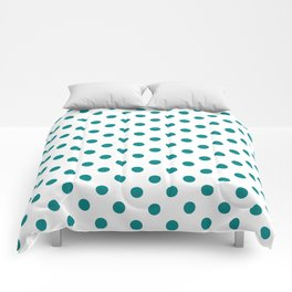 Small Polka Dots - Dark Cyan on White Comforters