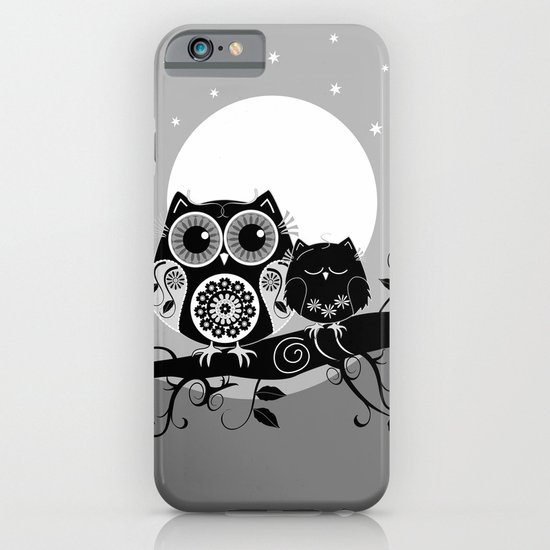 B&W Flower power Owl and her Sleepy Baby iPhone & iPod Case