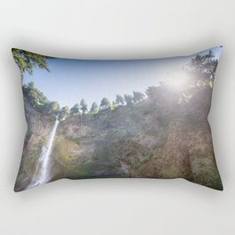 View of Multnomah Falls surrounded by forest in Oregon Rectangular Pillow