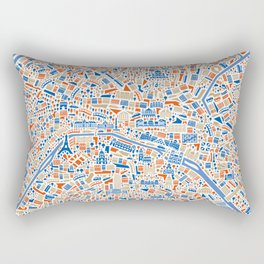 Paris City Map Poster Rectangular Pillow