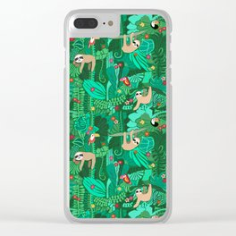 Sloths in the Emerald Jungle Pattern Clear iPhone Case
