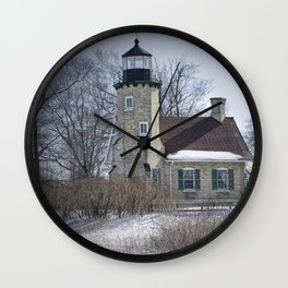 Lighthouse during Winter in Whitehall Michigan Wall Clock