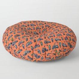 GP Bikes on Orange Background Floor Pillow