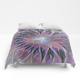 Fantasy Flower, Colorful Abstract Fractal Art Comforters