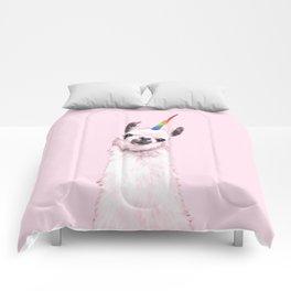 Unicorn Llama in Pink Comforters