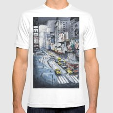 Time square - New York City - Illustration watercolor painting MEDIUM White Mens Fitted Tee