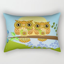 Spring owls on a sunny day Rectangular Pillow