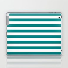 Horizontal Stripes (Teal/White) Laptop & iPad Skin