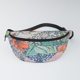 California Summer Bouquet - Oranges and Lily Blossoms in Blue and White Urn Fanny Pack