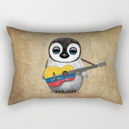 Baby Penguin Playing Colombian Flag Acoustic Guitar Rectangular Pillow