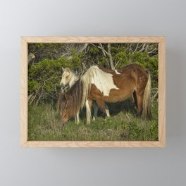 Chincoteague Foal No. 1 with Mother Framed Mini Art Print