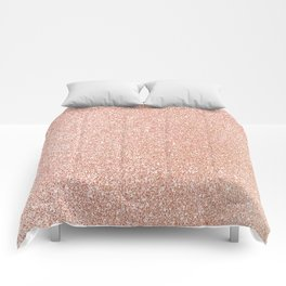 Abstract modern white rose gold glam glitter Comforters