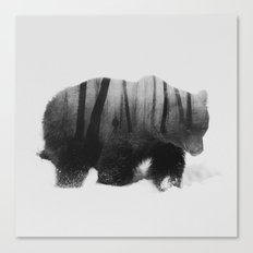 Watched by Grizzly Bear (black & white version) Canvas Print