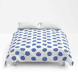 Blue flowers on white Comforters