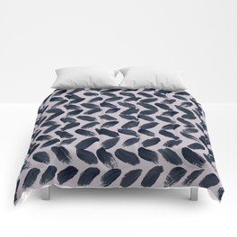 Lake Davinde -  Dark Blue Brush Strokes on lilac Comforters