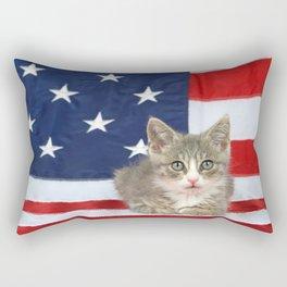 Patriotic Tabby Kitten Rectangular Pillow