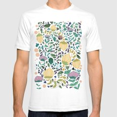 Flower Pattern Mens Fitted Tee SMALL White