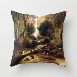 John Skinner Prout Bush landscape with waterfall and an Aborigine stalking native animals, New South Throw Pillow