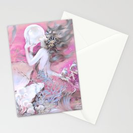 Mermaid With Pearl Pink Stationery Cards