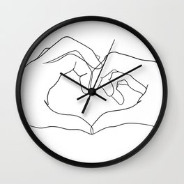 line art heart hands Wall Clock