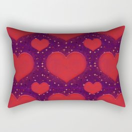 Galaxy Hearts Grunge Style Pattern Rectangular Pillow