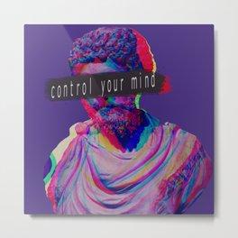 Control your mind vaporwave statue Marcus Aurelius Metal Print