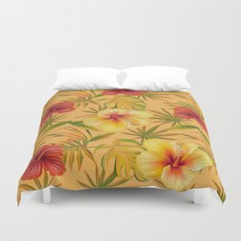 Leave And Flowers Pattern Duvet Cover